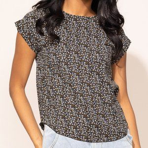 Pink Martini The Kittie Top in Black with White and Brown Pattern size Small